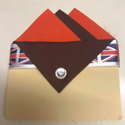 Orange & Brown Pocket Hankie With Brown Flap & Pin